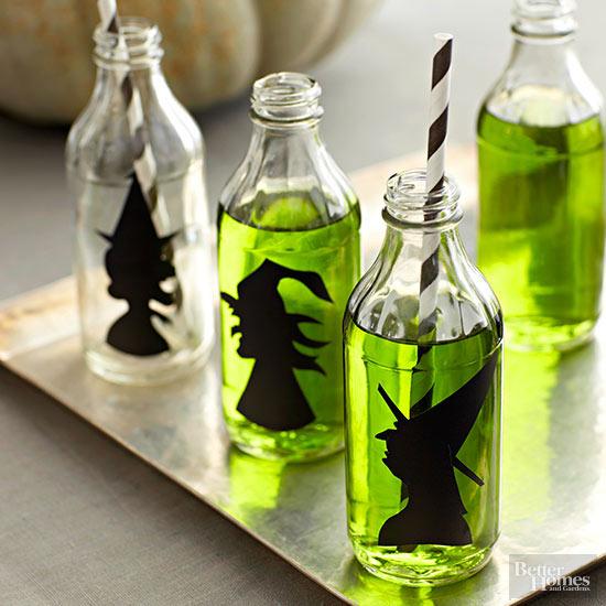 Halloween Witch Decor Bottles