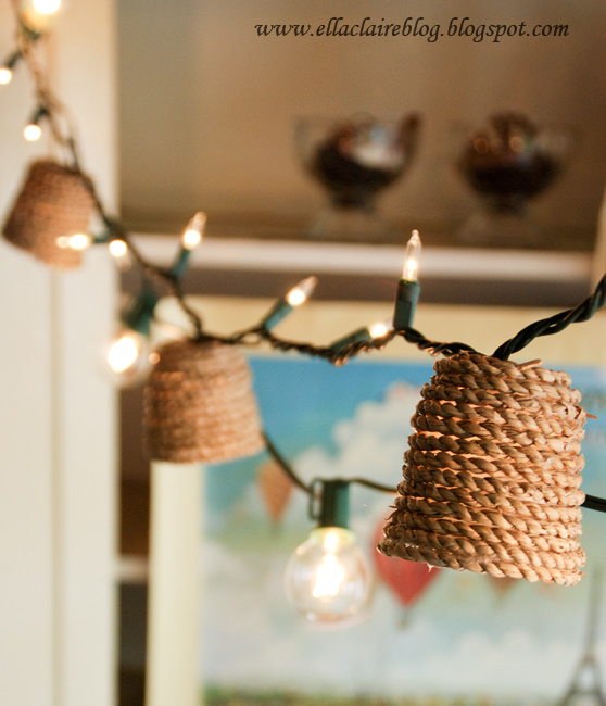 Diy jute twinkle light shade