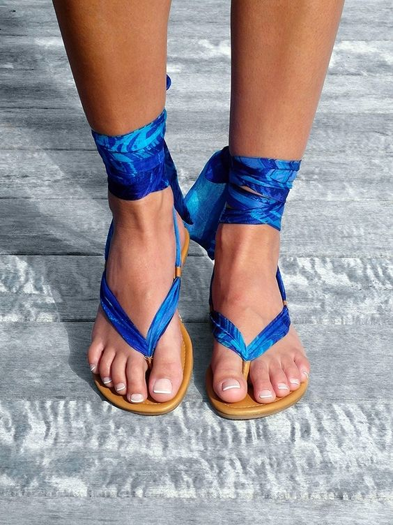 Diy leather and silk sandals