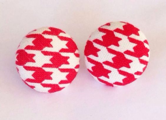 Diy retro fabric houndstooth earrings