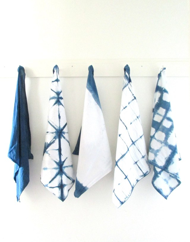 Diy inidgo tie dye tea towels