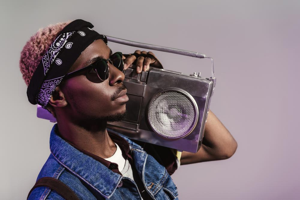 Denim vest and boombox 80s theme party