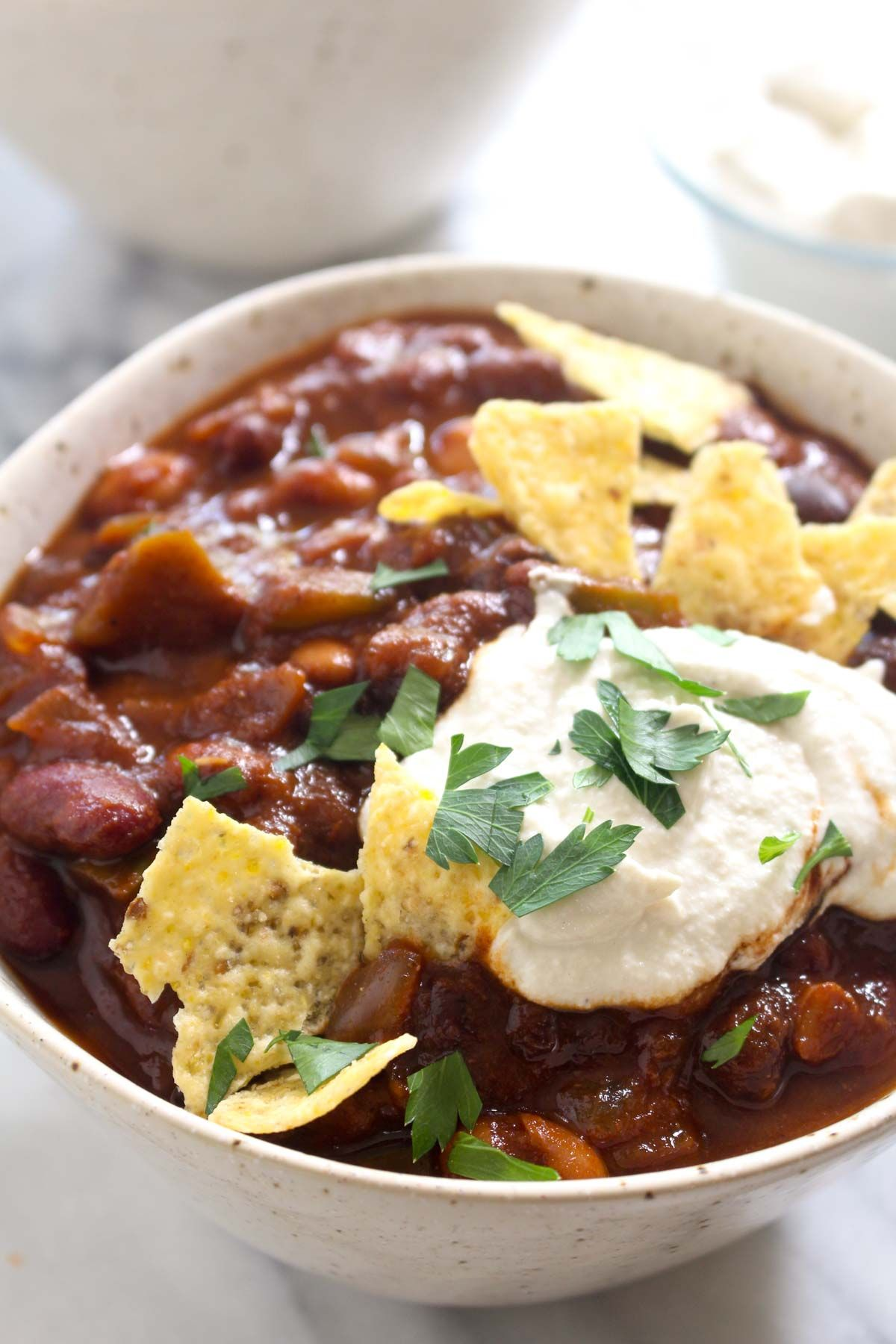 Fall vegetarian three bean chili recipe