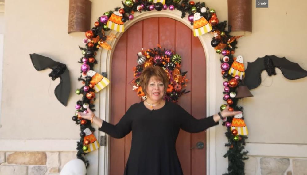 Festive halloween door and mantel decor