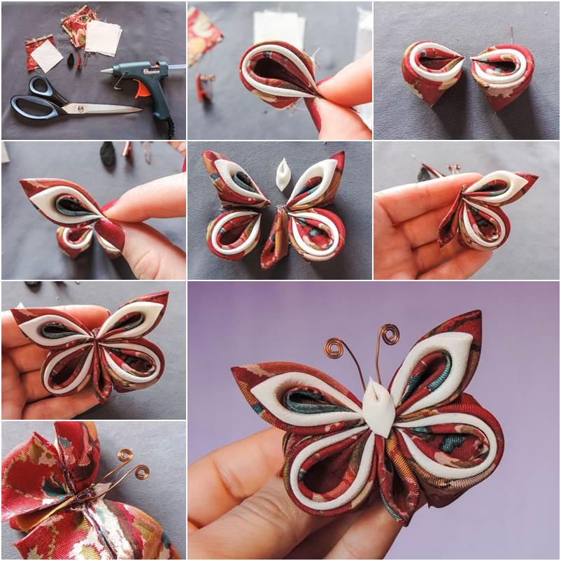Folded silk butterflies