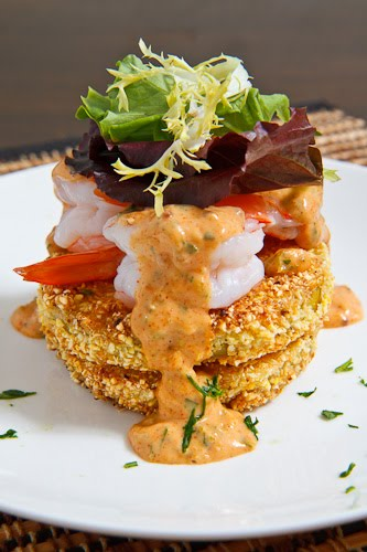Fried green tomatoes with shrimp remoulade, stacked 500