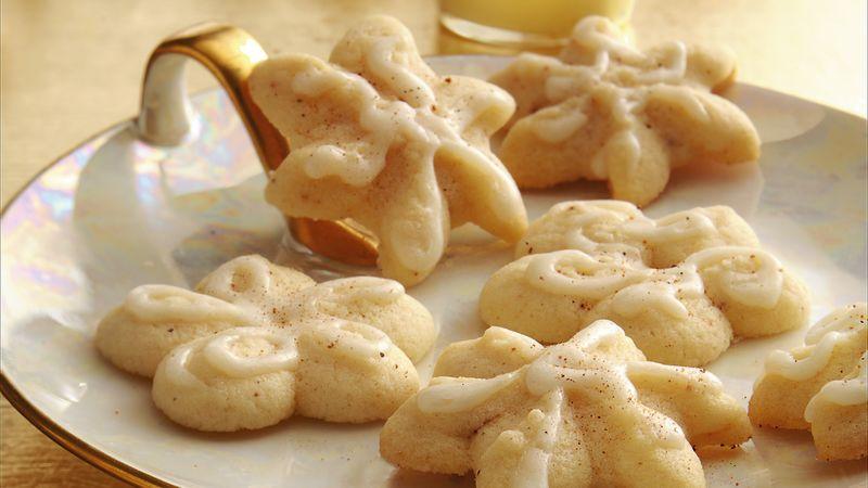 Glazed eggnog spritz cookies