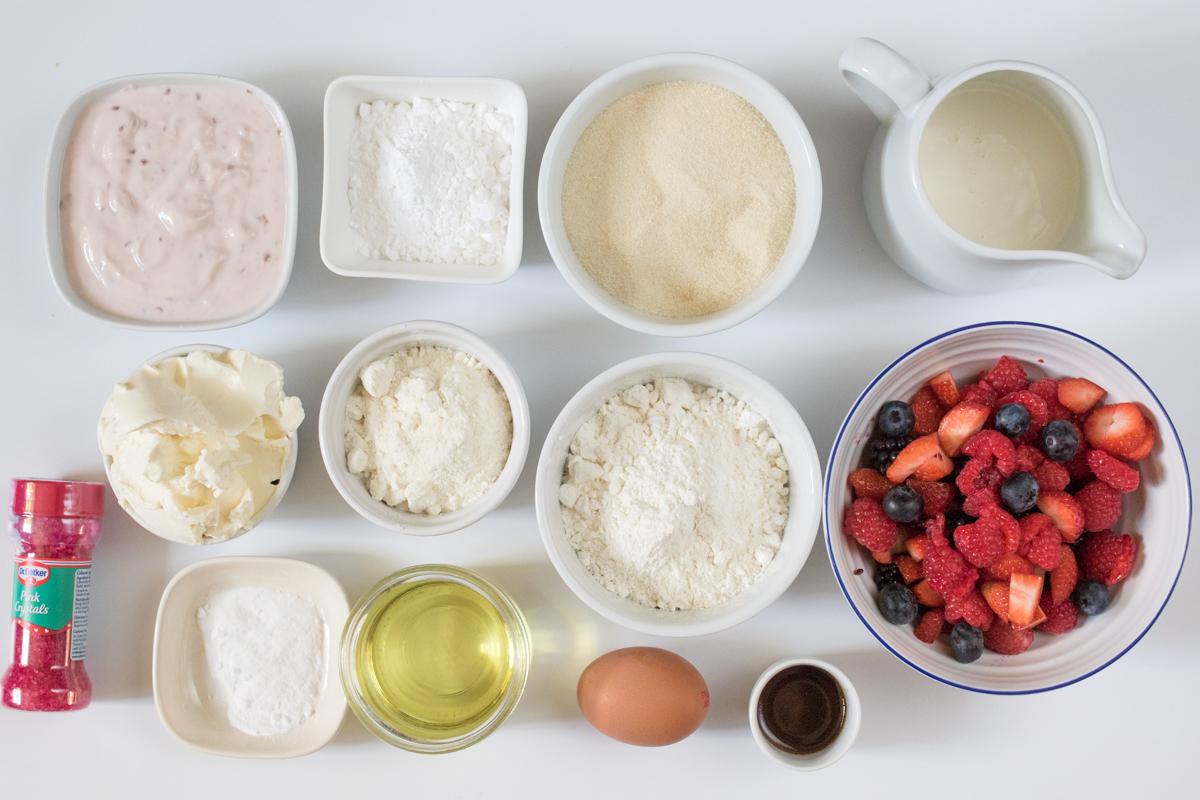 Gluten free berry cupcakes ingredients