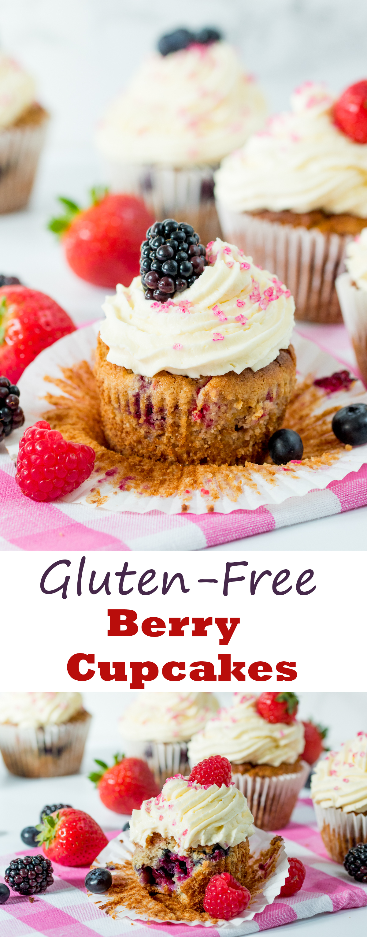 Gluten Free Berry Cream Cupcakes - Light and fluffy cupcakes, packed with fresh berries and topped with cheesecake cream!