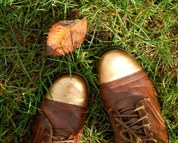 Gold toed combat boots