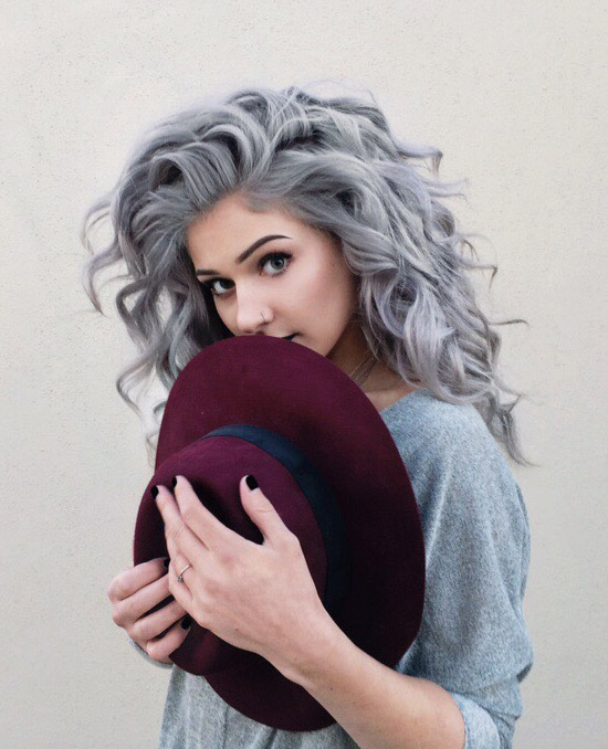 Grey curly dyed hairstyle