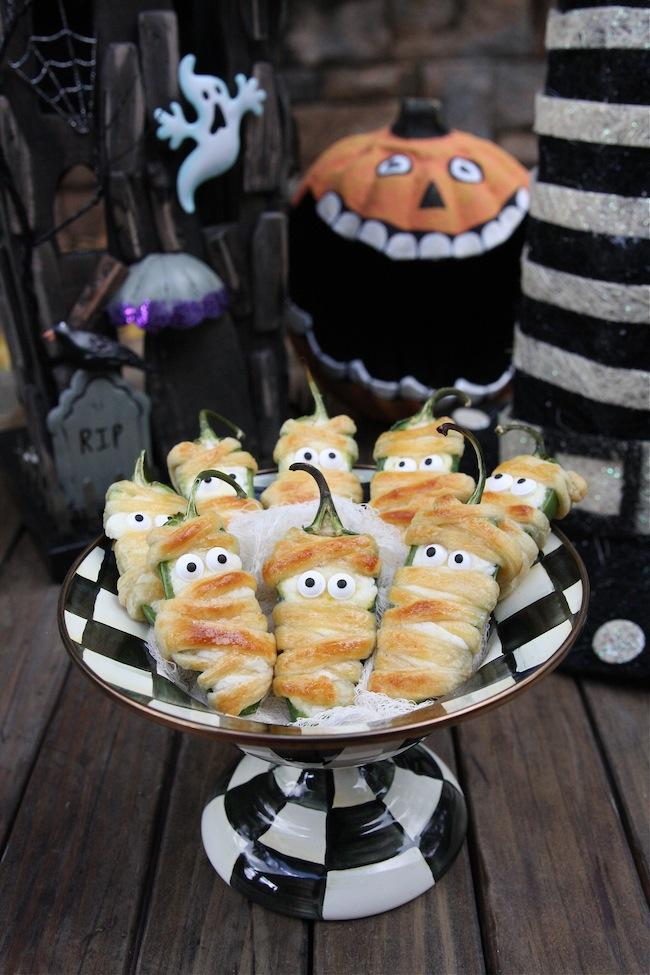 Halloween Snacks Jalapeño Popper Mummies