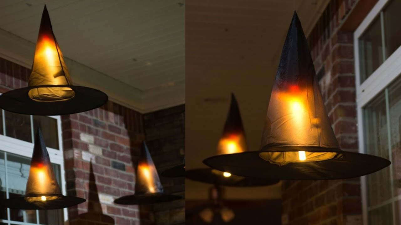 Halloween decorations hanging witch hats