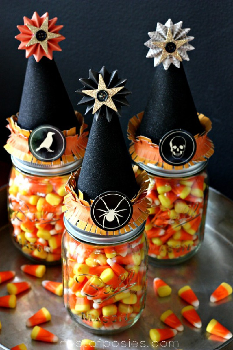 Halloween Witch Decor with Candy Corn