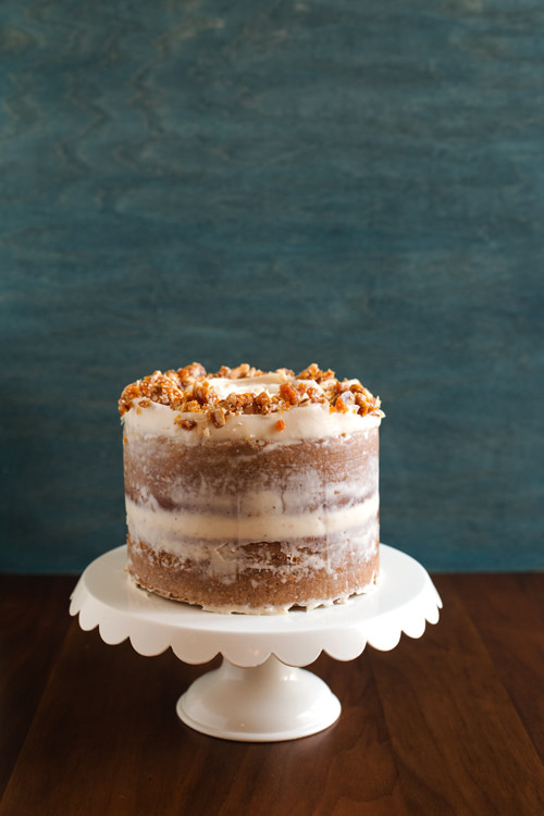 Hazelnut crunch pumpmkin cake with brown butter cream cheese frosting