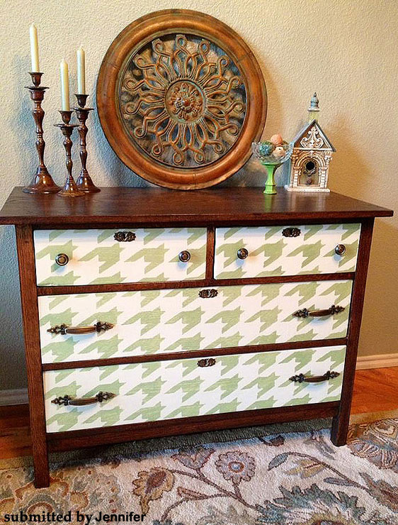 Houndstooth stenciled dresser drawers