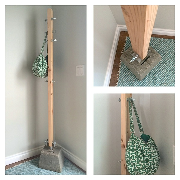 Industrial wood and concrete coat hanger