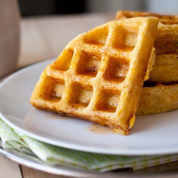Jalapeno corn waffles with sriracha and maple syrup
