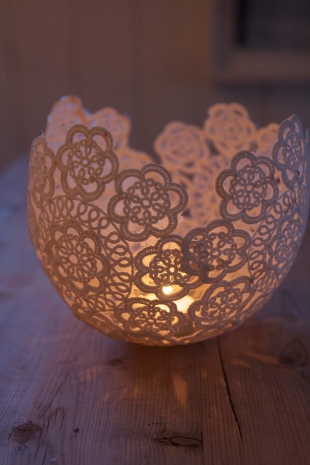 Lace doily candle votive