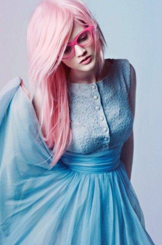 Long pastel pink hair