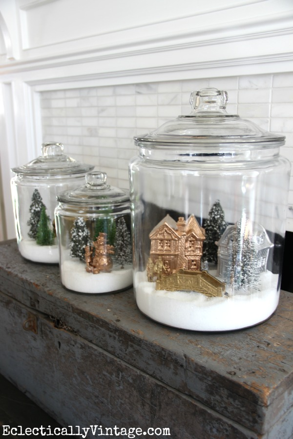 Make snow village jars diy