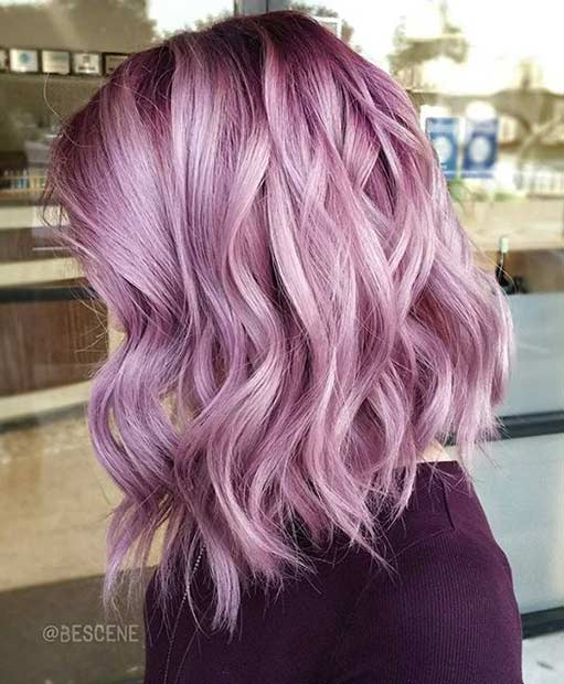 Metallic blush pastel hair