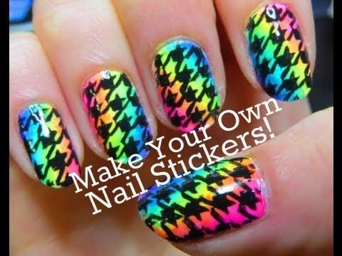 Neon rainbow houndstooth nail stickers