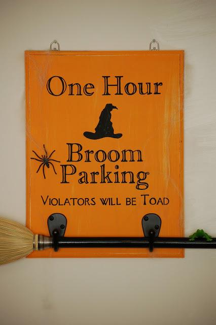 Halloween Witch Decor Parking Sign