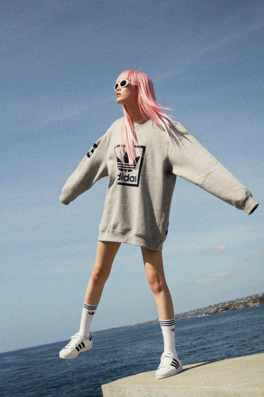 Oversized adidas sweatshirt 1980's inspired