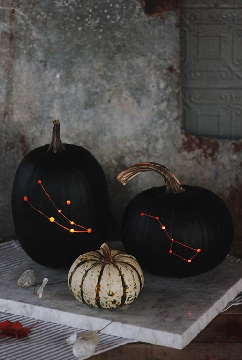 Painted constellation pumpkins