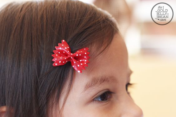 Painted pasta hair bows