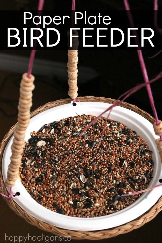 Paper plate bird feeder kids can make an easy birdfeeder with a paper plate raffia and cheerios happy hooligans