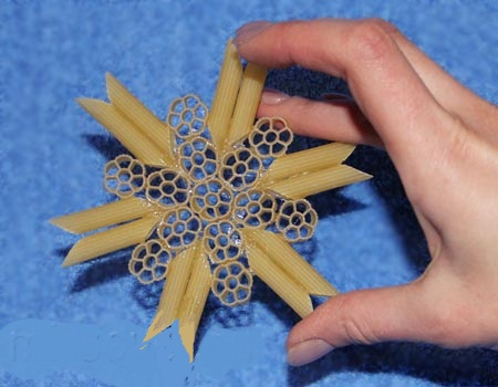 Pasta snowflake ornaments