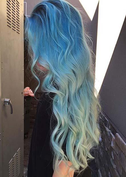 Pastel blue ombre hair