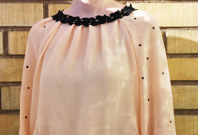 Peach chiffon and black lace blouse