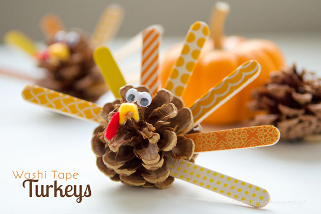 Pine cone and popsicle stick turkeys