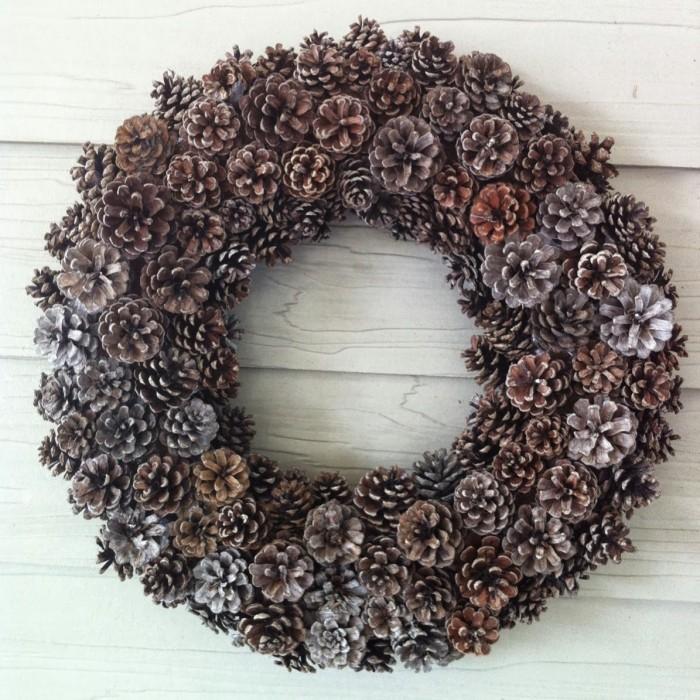 Pine cone door wreath