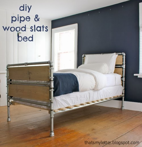 Pipe and wooden slat bed