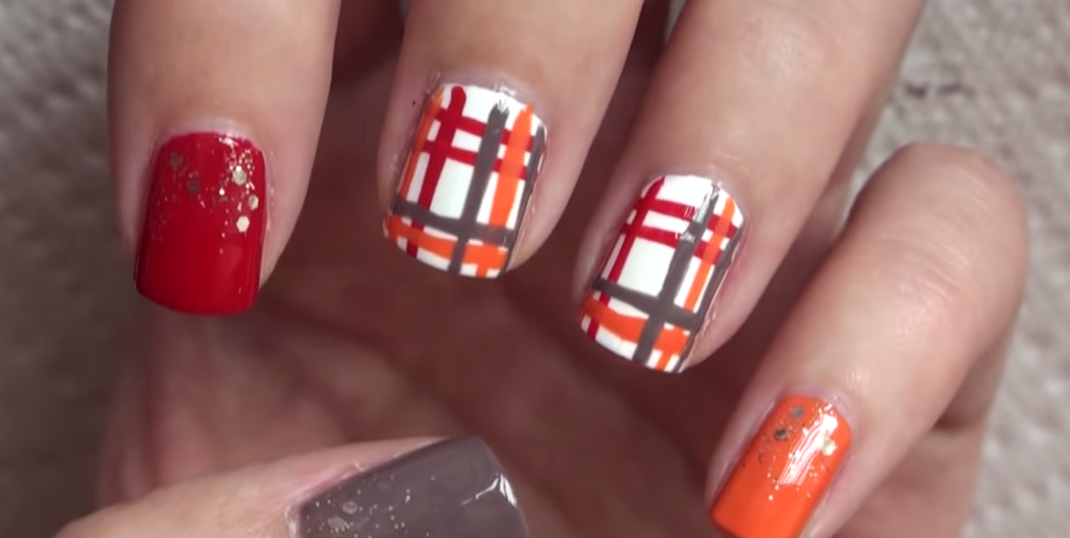 25 thanksgiving nail art ideas plaid red orange nail art solutioingenieria Images
