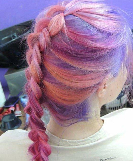 Purple & orange pastel hair braid