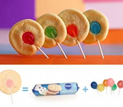 Rainbow cookie pops
