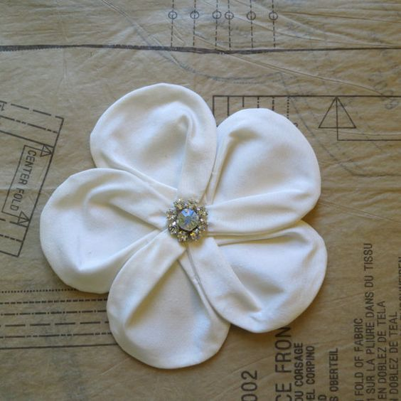 Rhinestoned silk flower