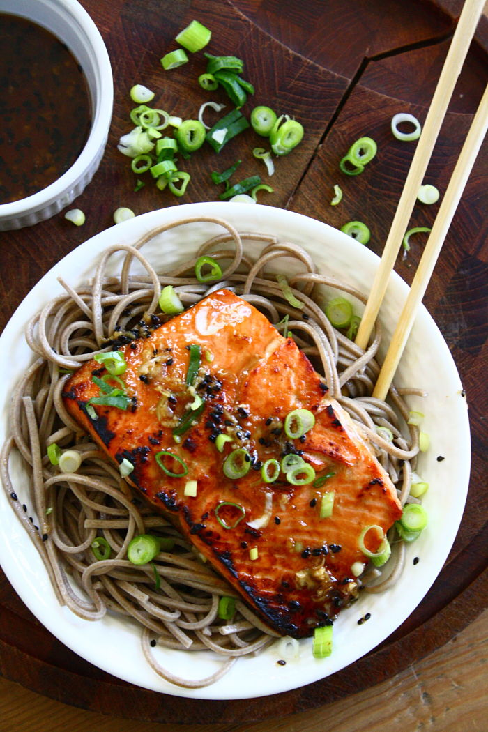 Sesame ginger salmon with soba noodles