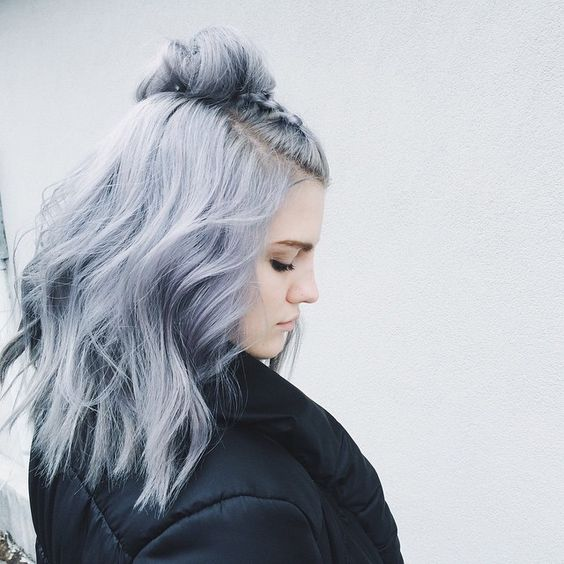 Silvery blue pastel hair