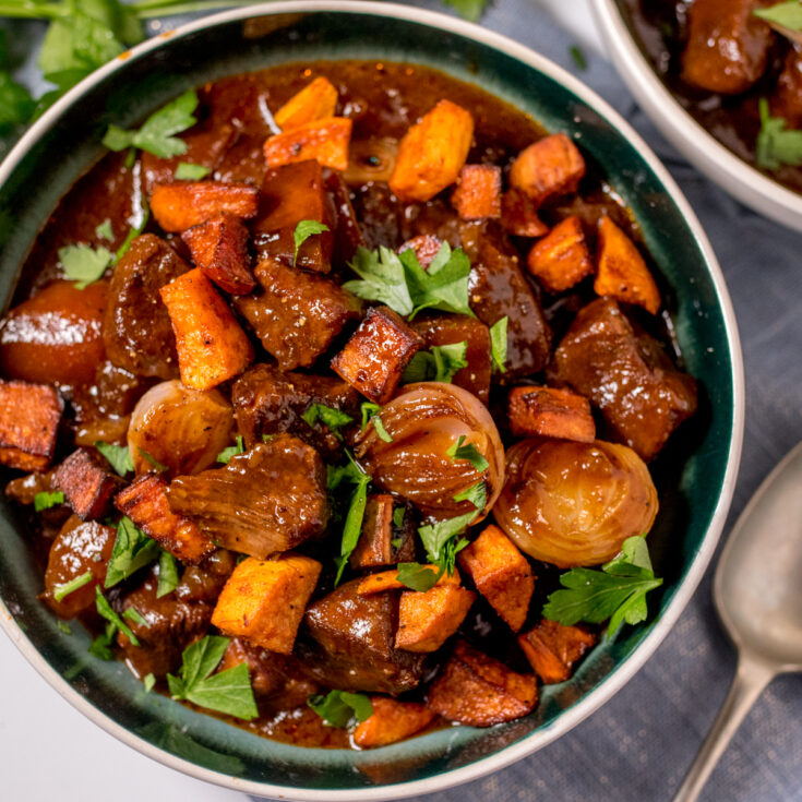 This Slow Cooked Beef Stew with Roasted Sweet Potato is exactly what you need to warm you up on a cold evening!