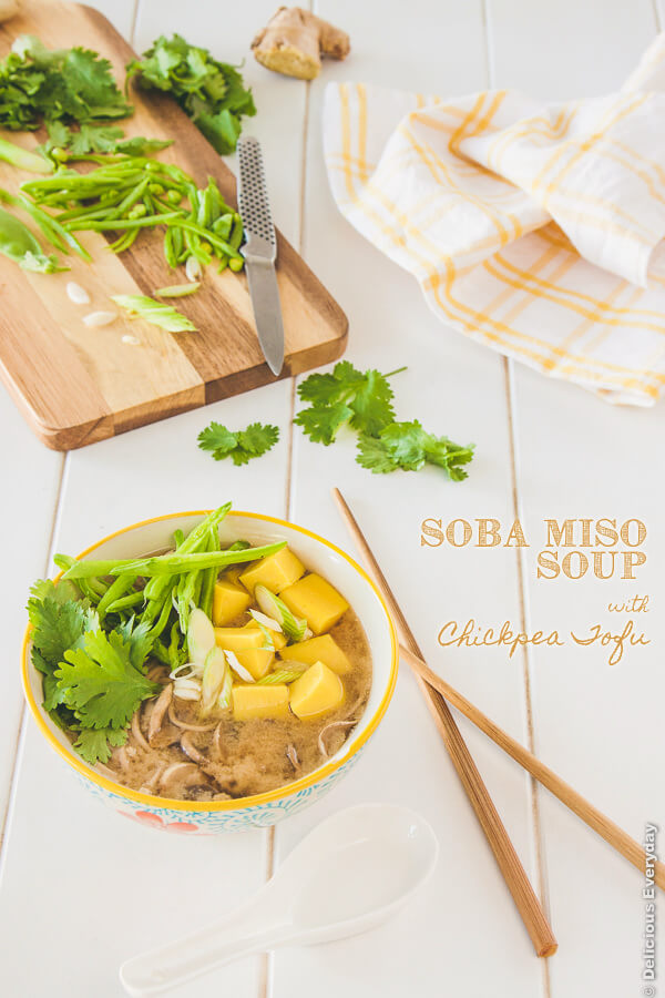 Soba miso soup recipe w chickpea tofu