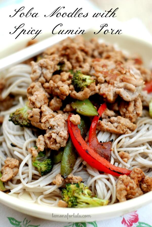 Soba noodles with spicy cumin pork 1