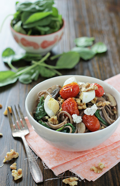 Soba noodles with roasted tomatoes mushrooms and eggs web 1