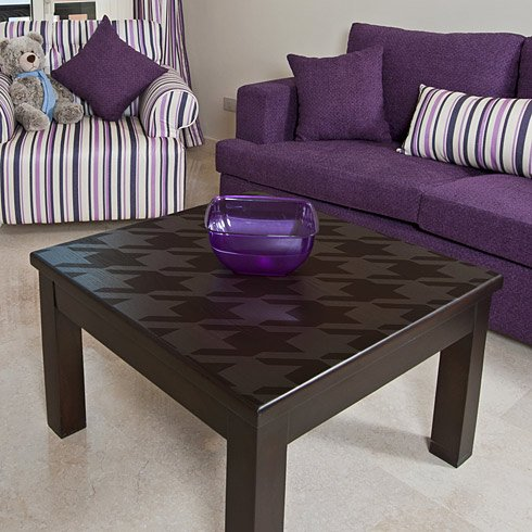 Stencilled houndstooth side table