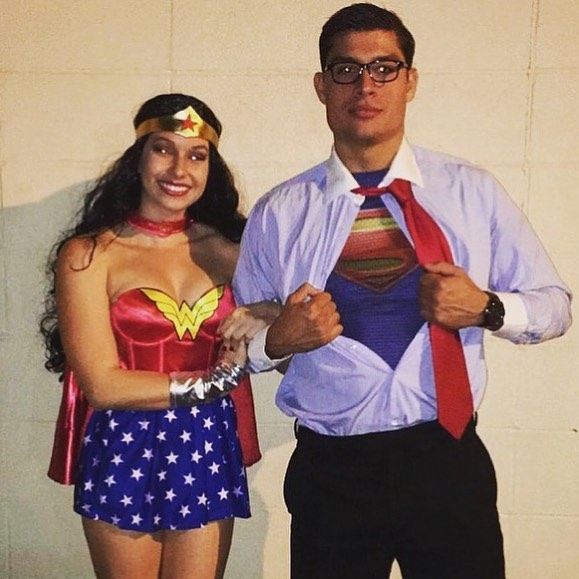 Superman and wonder woman couples haloween costumes
